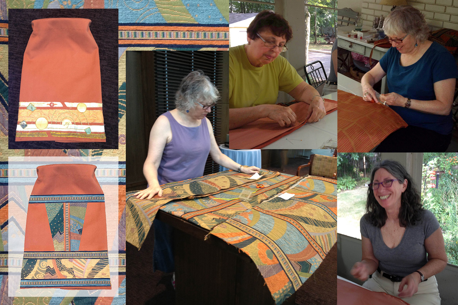Top left: original Torah mantle; Bottom left: my mockup of the new mantle; Center: Ellen cutting and measuring fabric; Ellen sewed the mantles mostly by machine, but we hand sewed parts of the lining.