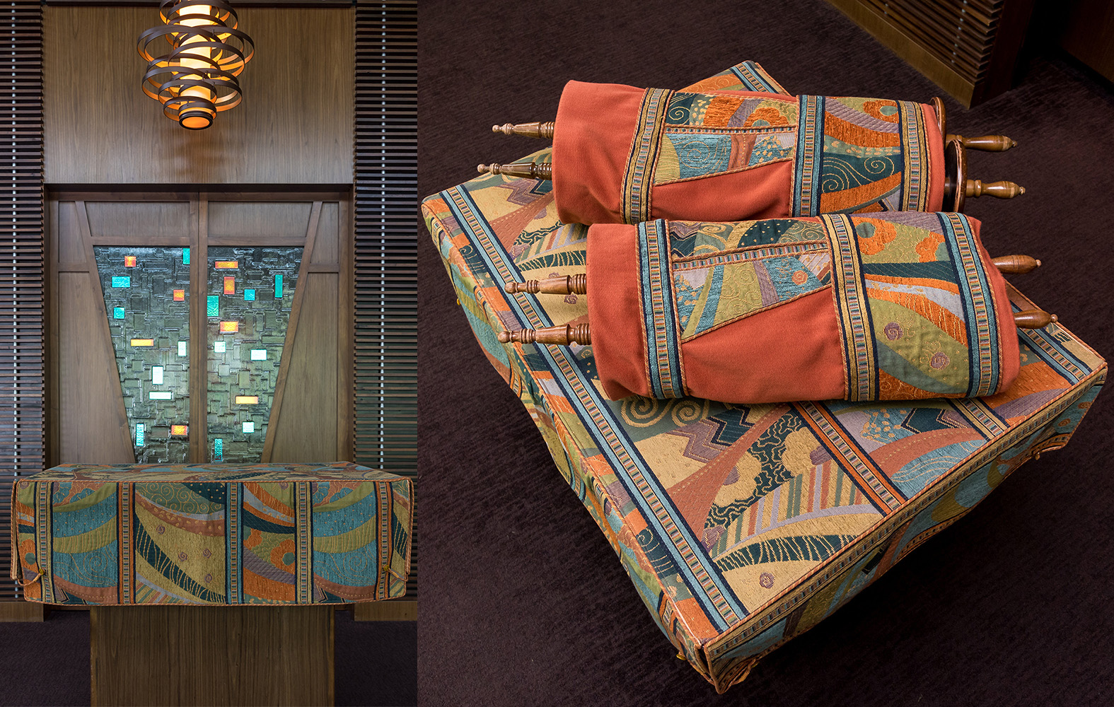 Finished lectern cover shown in front of the ark; finished Torah mantles on the lectern. Photos by Joy Yagid.