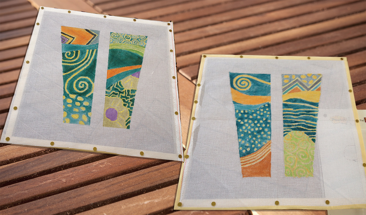 Painted canvases, ready to be stitched.