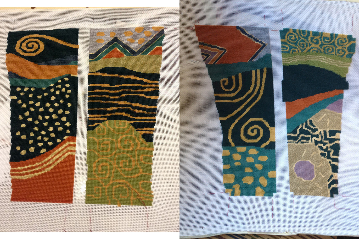 Needlepoint complete, with design widened all around to allow for seams