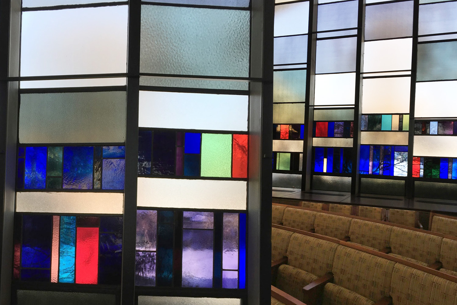 The windows in Beth El's sanctuary are composed of a mixture of translucent, clear, smooth, textured and colorful rectangles.