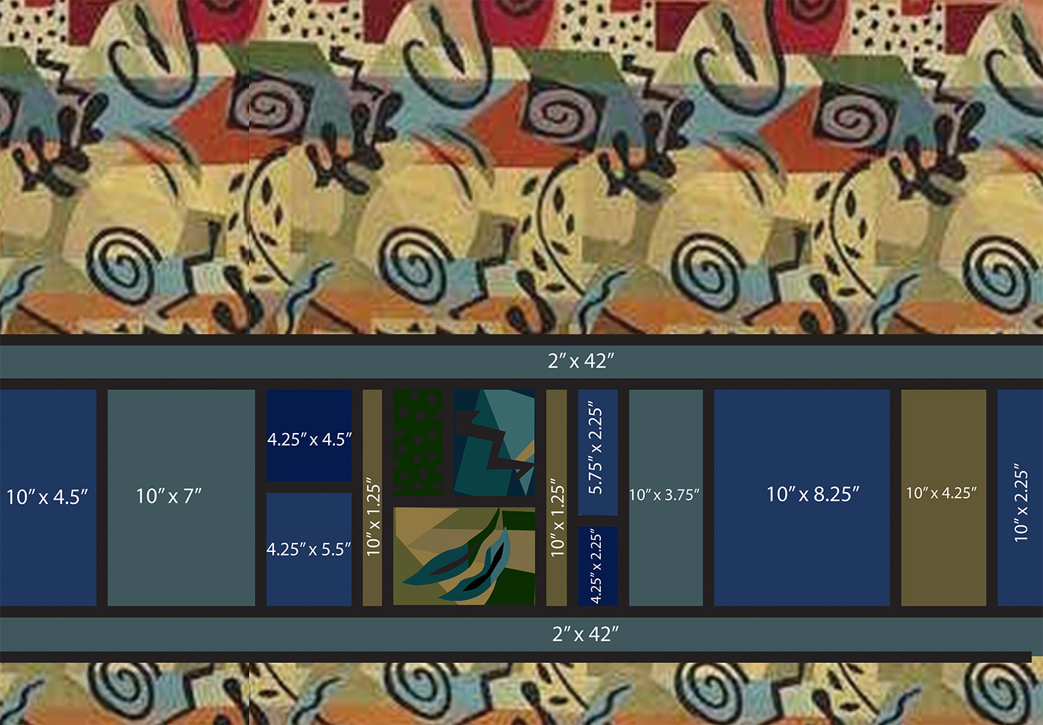 """Measured layout of the 32"""" long Torah cover (background fabric is a low resolution copy, for placement only)"""