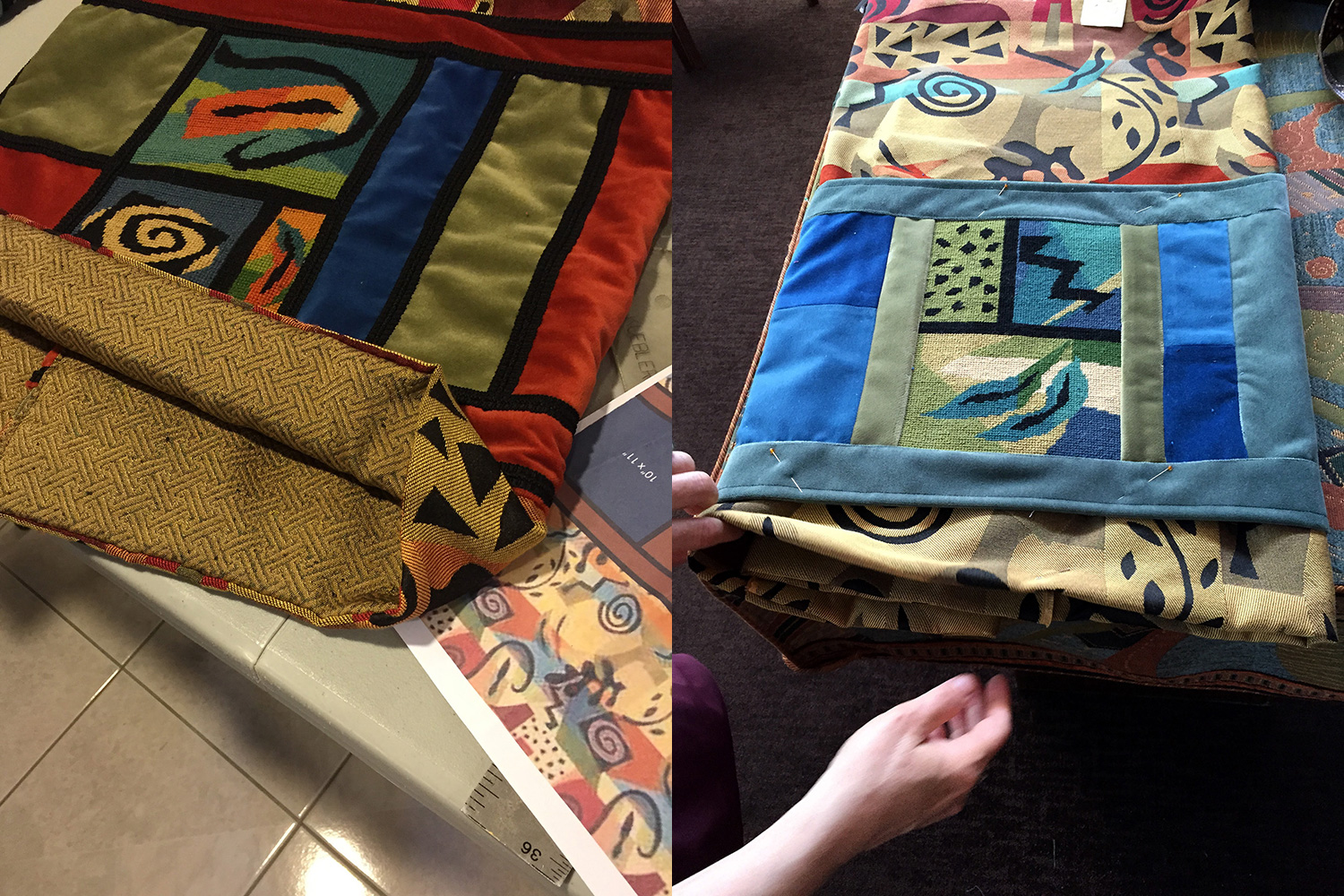 Ellen found a beautiful bolt of fabric for lining each mantle; mantle appliqué in progress