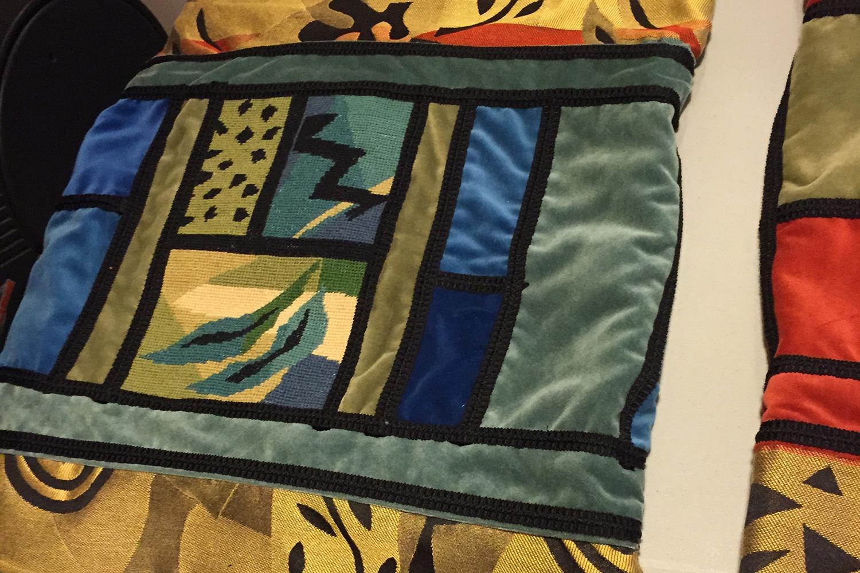 Appliqué panel with passementerie sewn on
