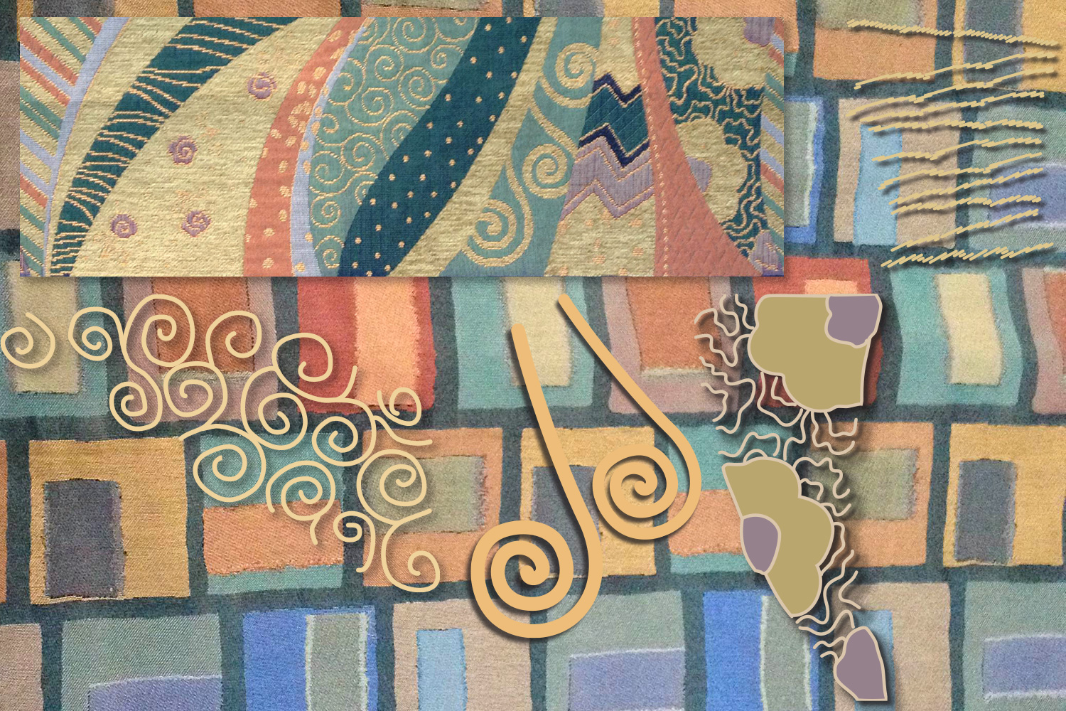 New fabric (2014) in the background, swatch of 2013 fabric upper right; vectorized shapes based upon the 2013 fabric.