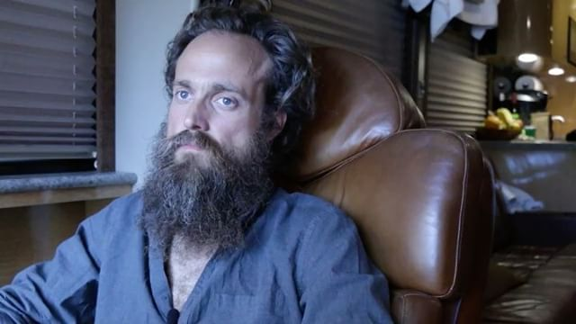 sam beam had a really difficult time using the third person 😝 || jeff interviews from the stairs, while i sit on driver's seat to film & catch sam's slip ups (( on sam's tour bus in boston before iron&wine show ))
