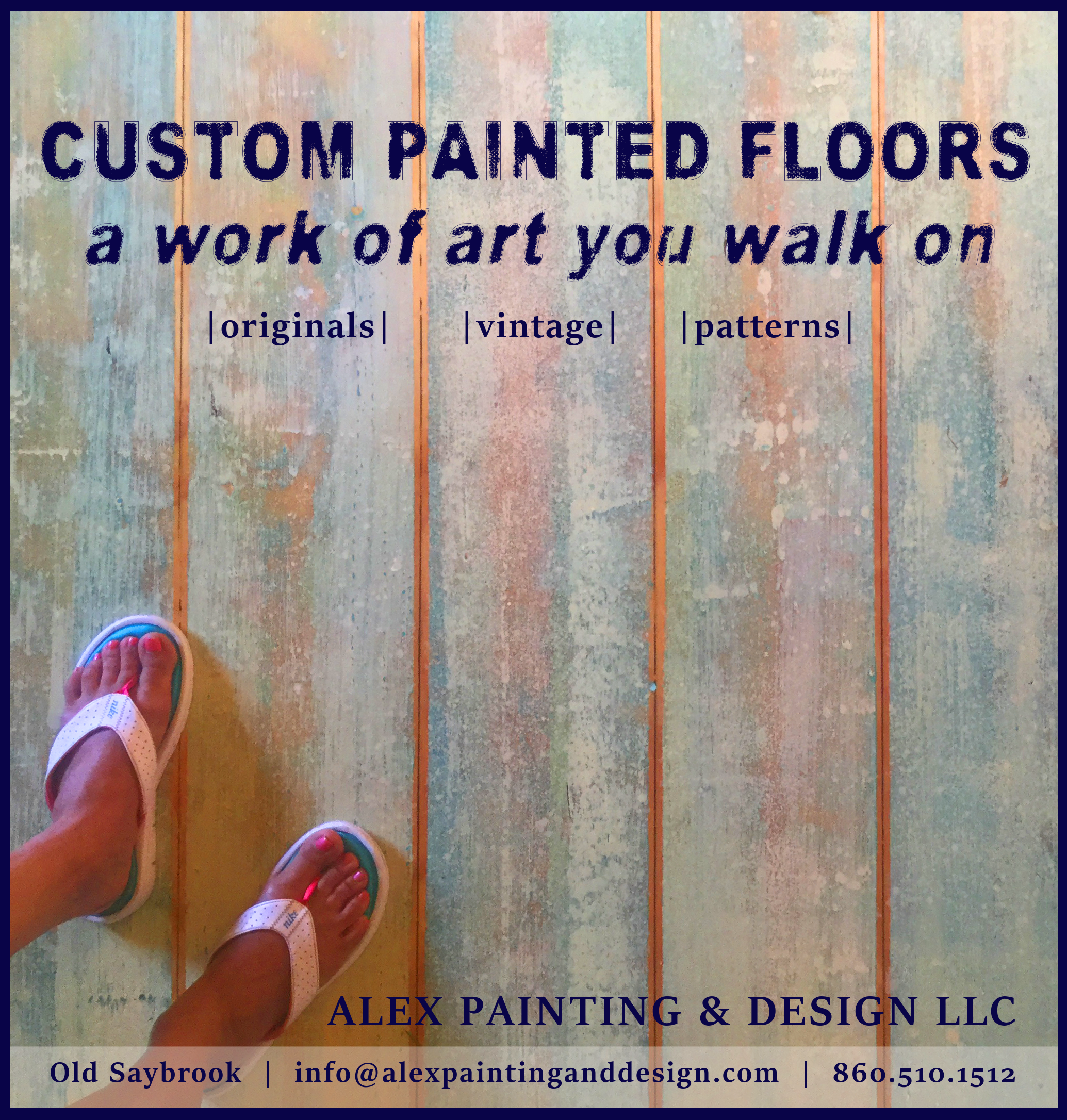 Custom painted floors and walls! We can do any of the following techniques along with custom designs, faux finishes on any surface, and murals! Alex Painting & Design LLC is run by artist Andria Alex. Call for more info 860.510.1512 -