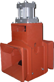 HTB-250 Hydraulic Rail Threader Box - Extreme duty rail threader box designed to mount on rail train pickup or unloading equipment. This bi-directional threader box can be universally mounted in a telescoping, tilting, elevating or stationary position for loading or unloading of continuous welded or continuous jointed rail of any size. Features include: Heat-treated base and top flanged rollers with heavy-duty bearings. Top flanged roller block can be quickly adjusted up or down to accommodate any rail size using the massive hydraulic cylinder (supplied) when connected to a hydraulic circuit. The bi-directional rail funnel allows loading from either direction.HTB-250
