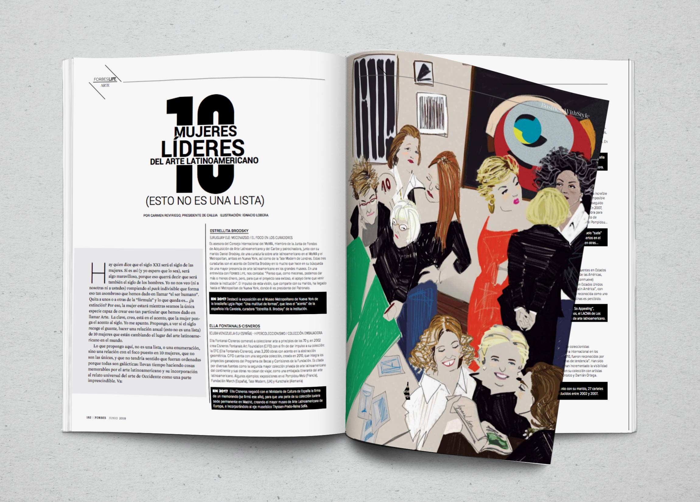 Top 10. Ilustración digital para Forbes Life México, junio 2018.
