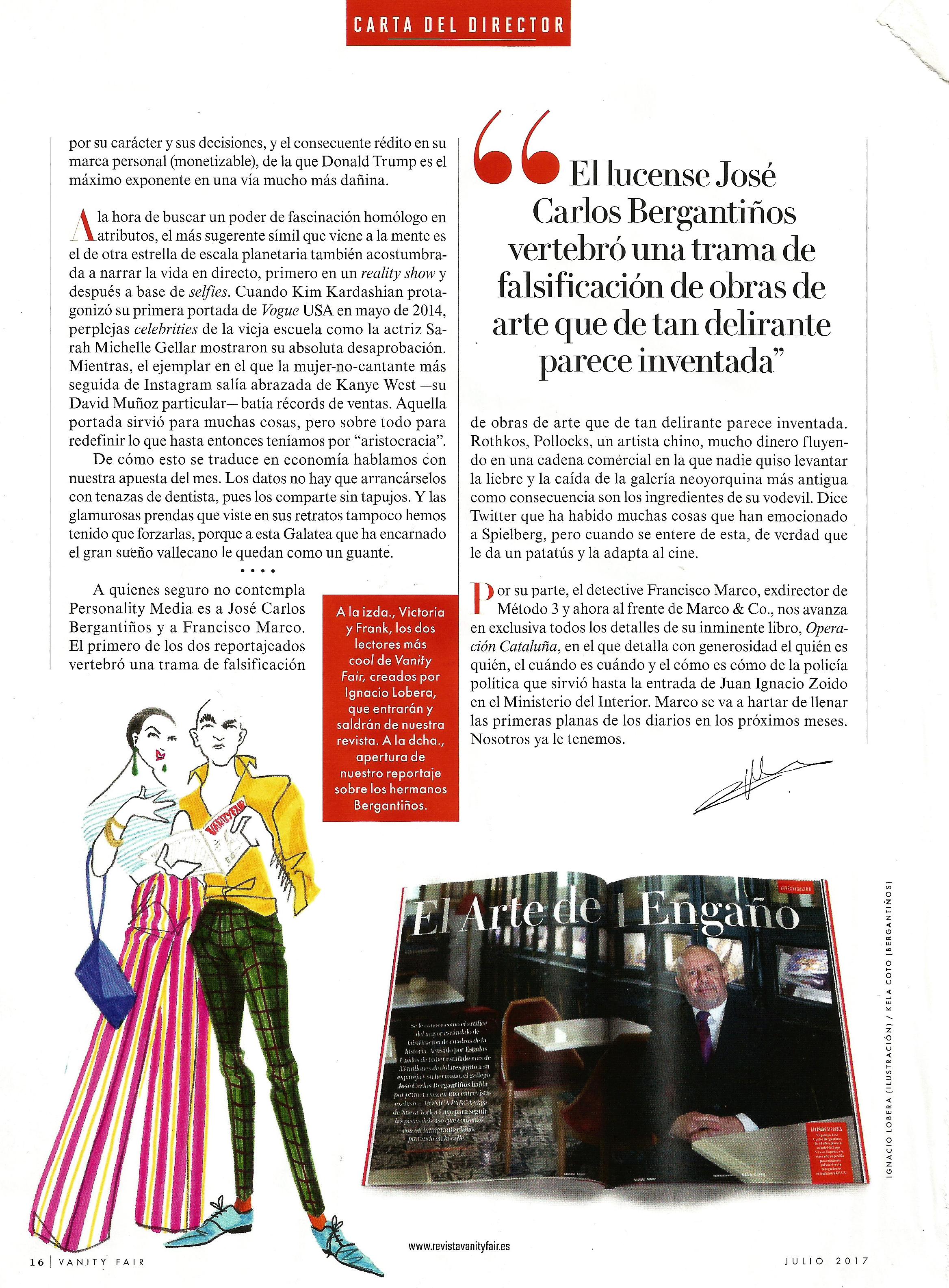 Victoria & Frank en la carta del Editor para Vanity Fair, junio 2017. Por Ignacio Lobera