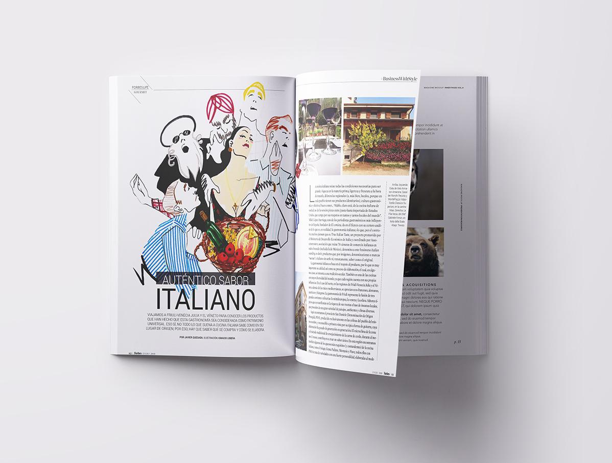 Producto italiano. Ilustración para Forbes Life México. Enero 2018
