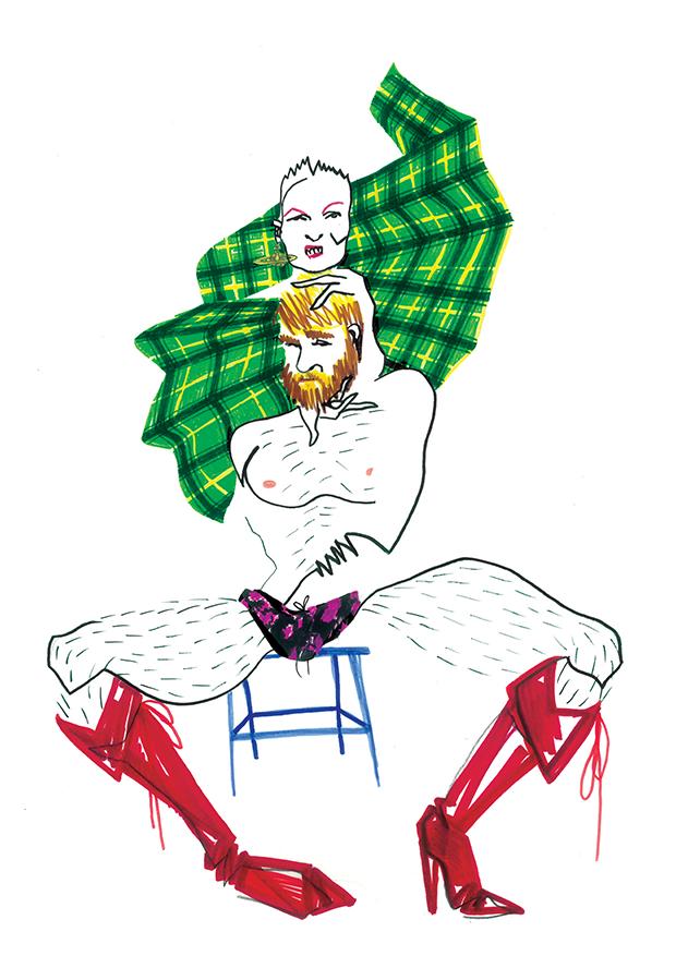 Ilustración de Kolbi Keller y Vivienne Westwood, para Dear Magazine. Por Ignacio Lobera