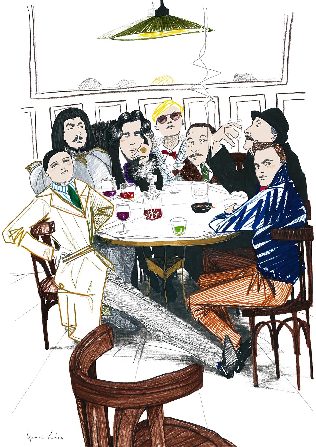 Ilustración de autores malditos. Por Ignacio Lobera