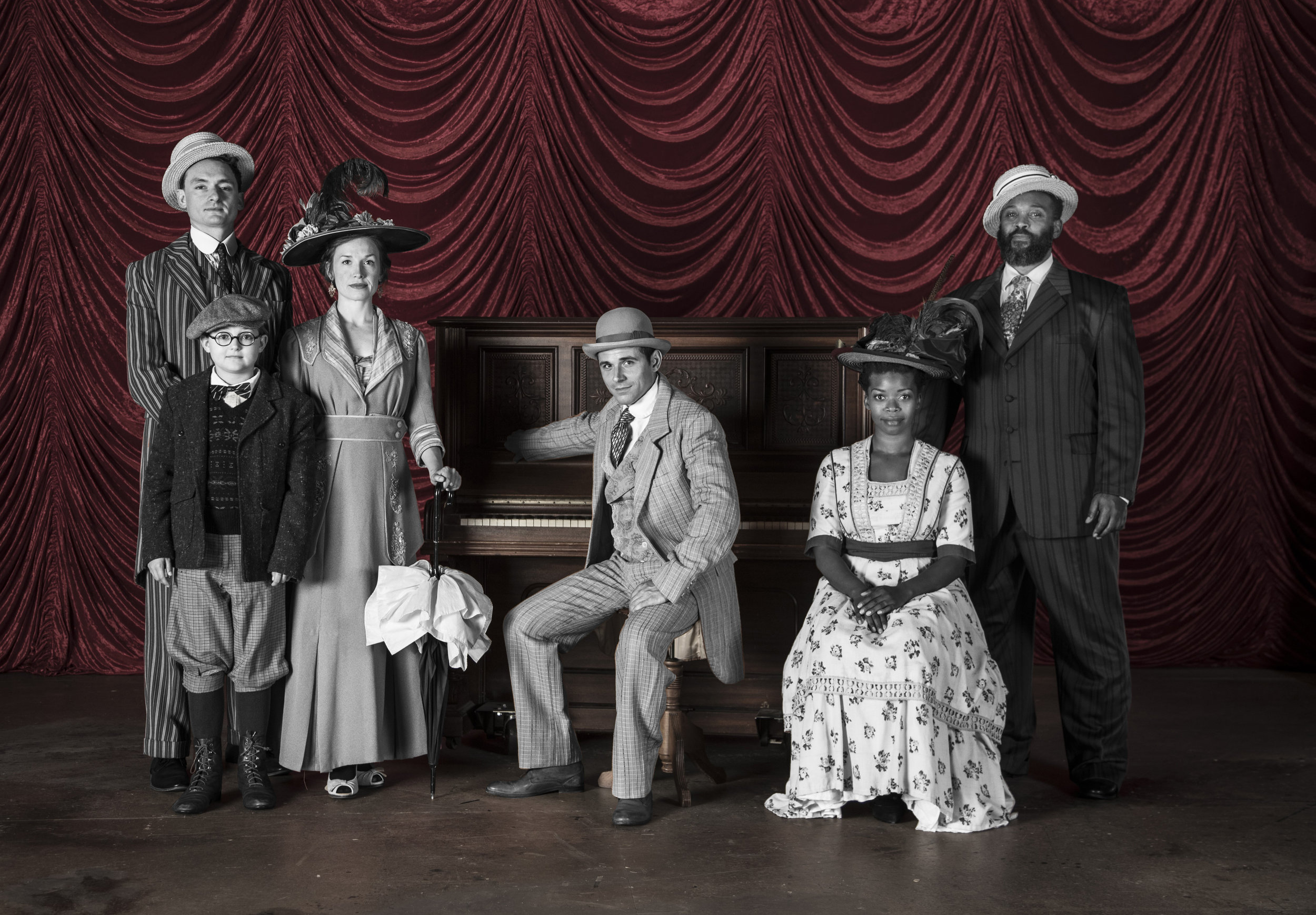Theater Latté Da's RAGTIME. Photo by Joe Dickie. Featuring (from left to right): Riley McNutt, Soren Miller, Britta Ollmann, Sasha Andreev, Traci Allen Shannon, and Andre Shoals.