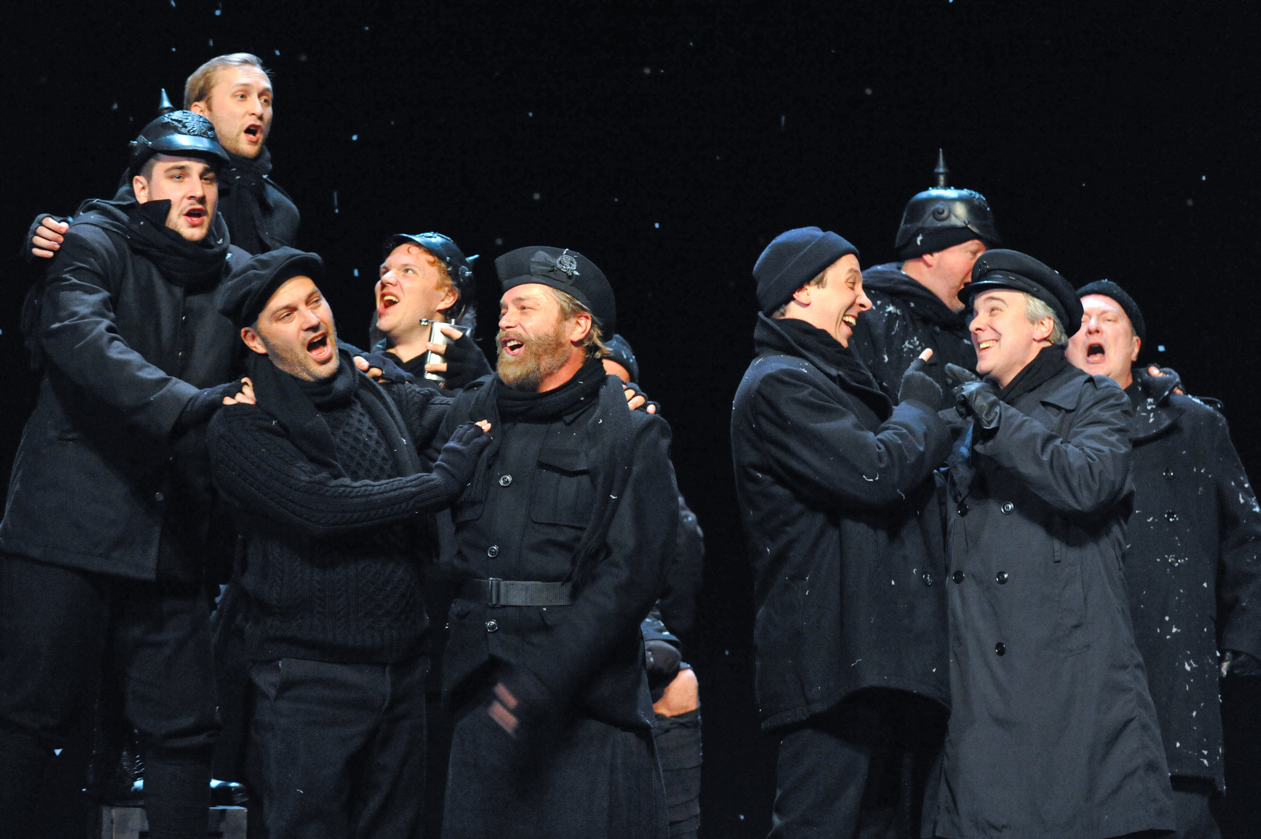 The cast of All is Calm: The Christmas Truce of 1914 Photo by George Byron Griffiths