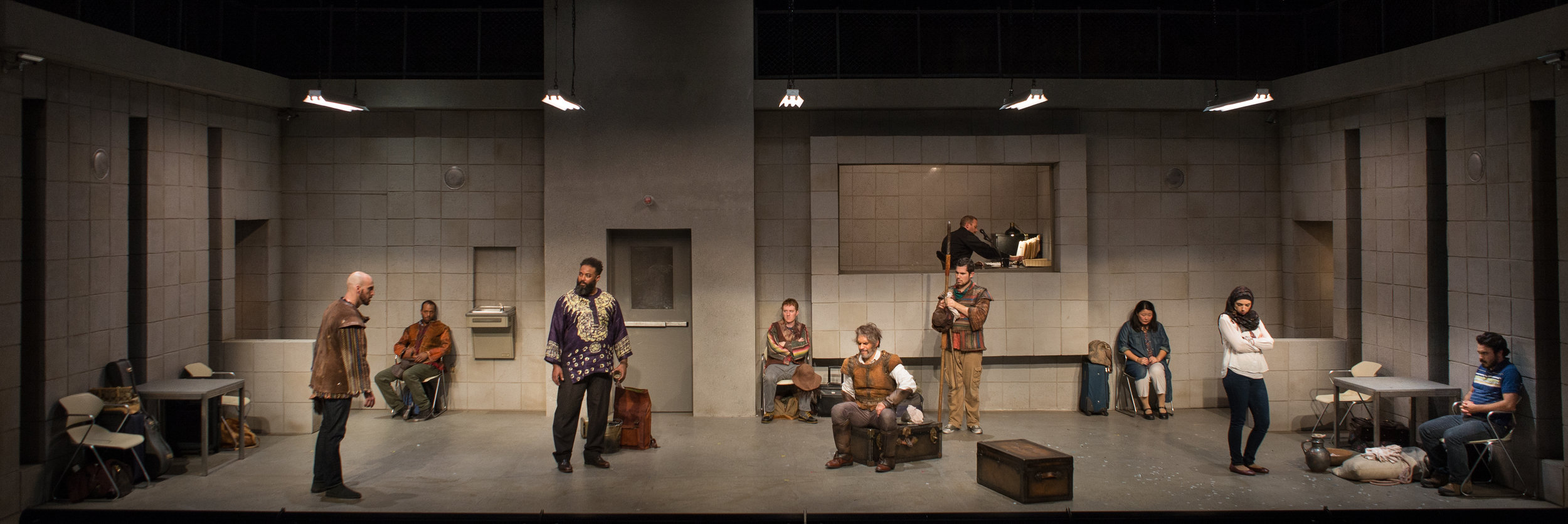 The cast of Man of La Mancha, Scenic Design by Michael Hoover, Photo by Allen Weeks