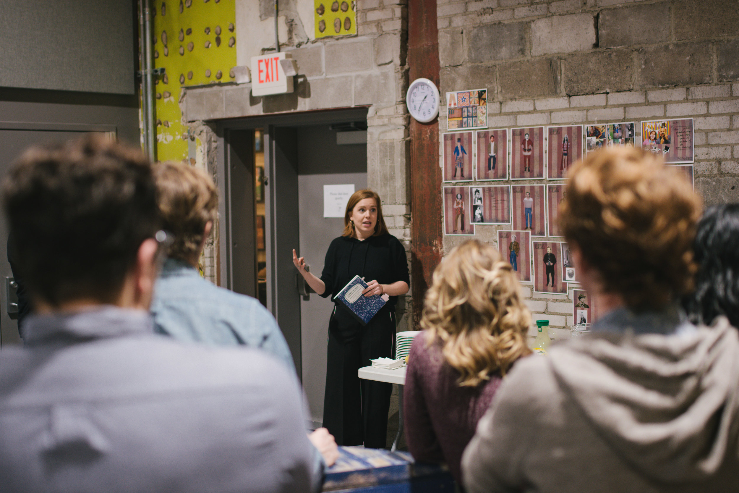 Alice Fredrickson, Costume Designer, discusses her costume design concepts with the cast. Photo credit Emilee Elofson
