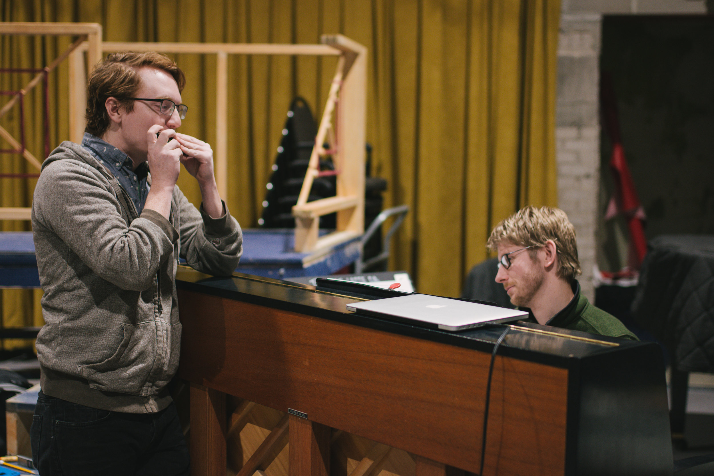 Matt Riehle (The Proprietor) rehearses with Jason Hansen, Music Director. Photo credit Emilee Elofson.