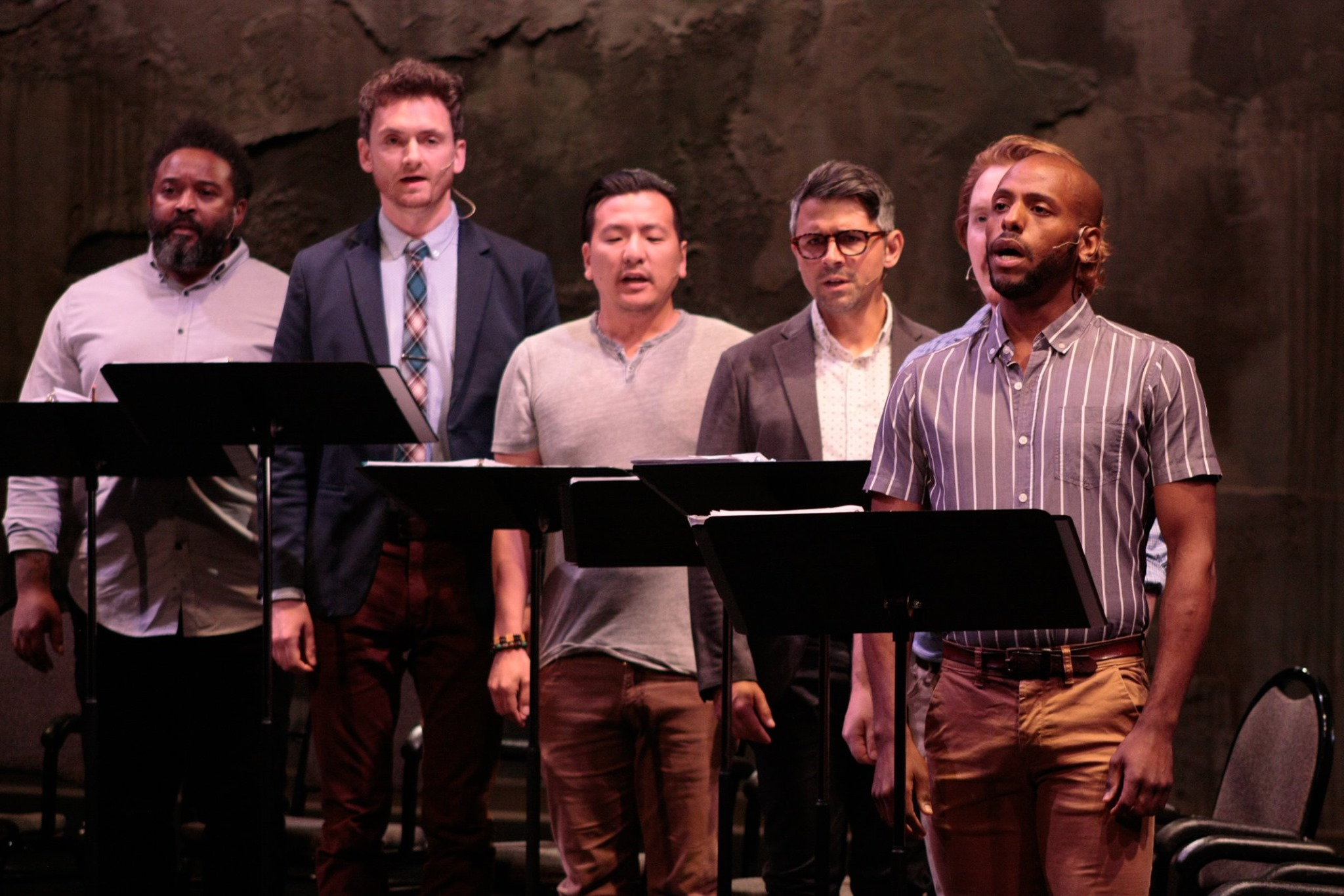 NEXT Festival 2019 -  Twelve Angry Men.  Pictured (L-R): André Shoals, Riley McNutt, Brian Kim, Sasha Andreev, Matt Riehle, Jon-Michael Reese. Photo by Andrew Leshovsky.