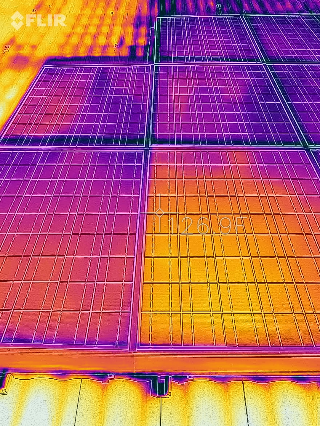 "Thermal image showing faulty ""hot"" panel."