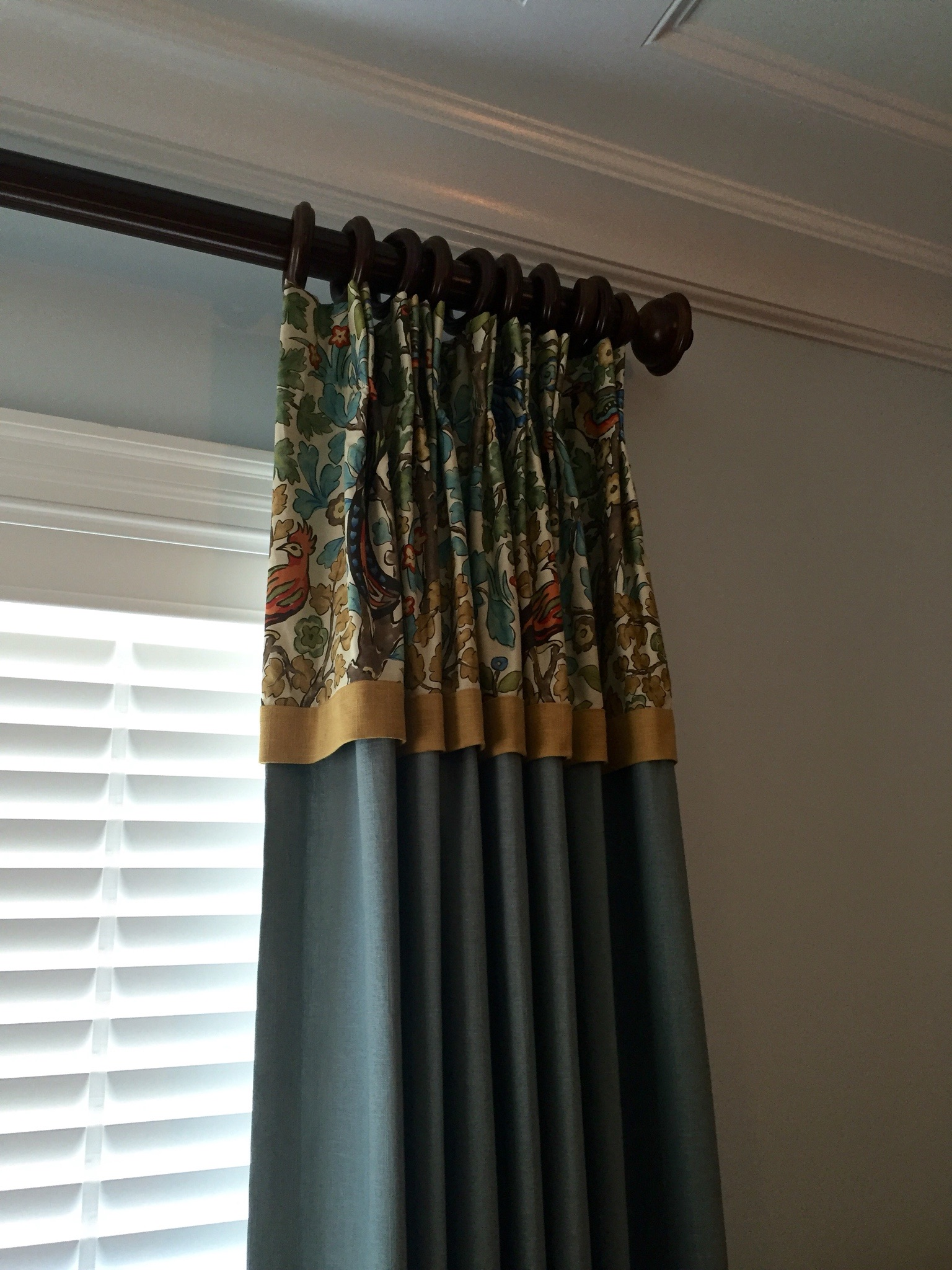 Drapery with attached valance and banding