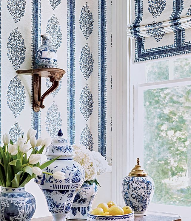 So in love with this Indian inspired block print ! #blueandwhitehome