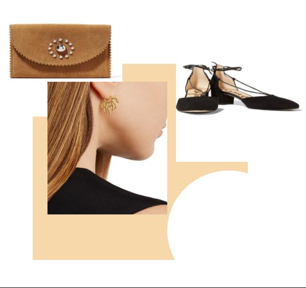 L-R: Sandro Wallet $78 (orig $190).  Arme DE'Lamour gold plated earrings  $60 (orig $120). Sam Edelman Sandals  $60 (orig $120)