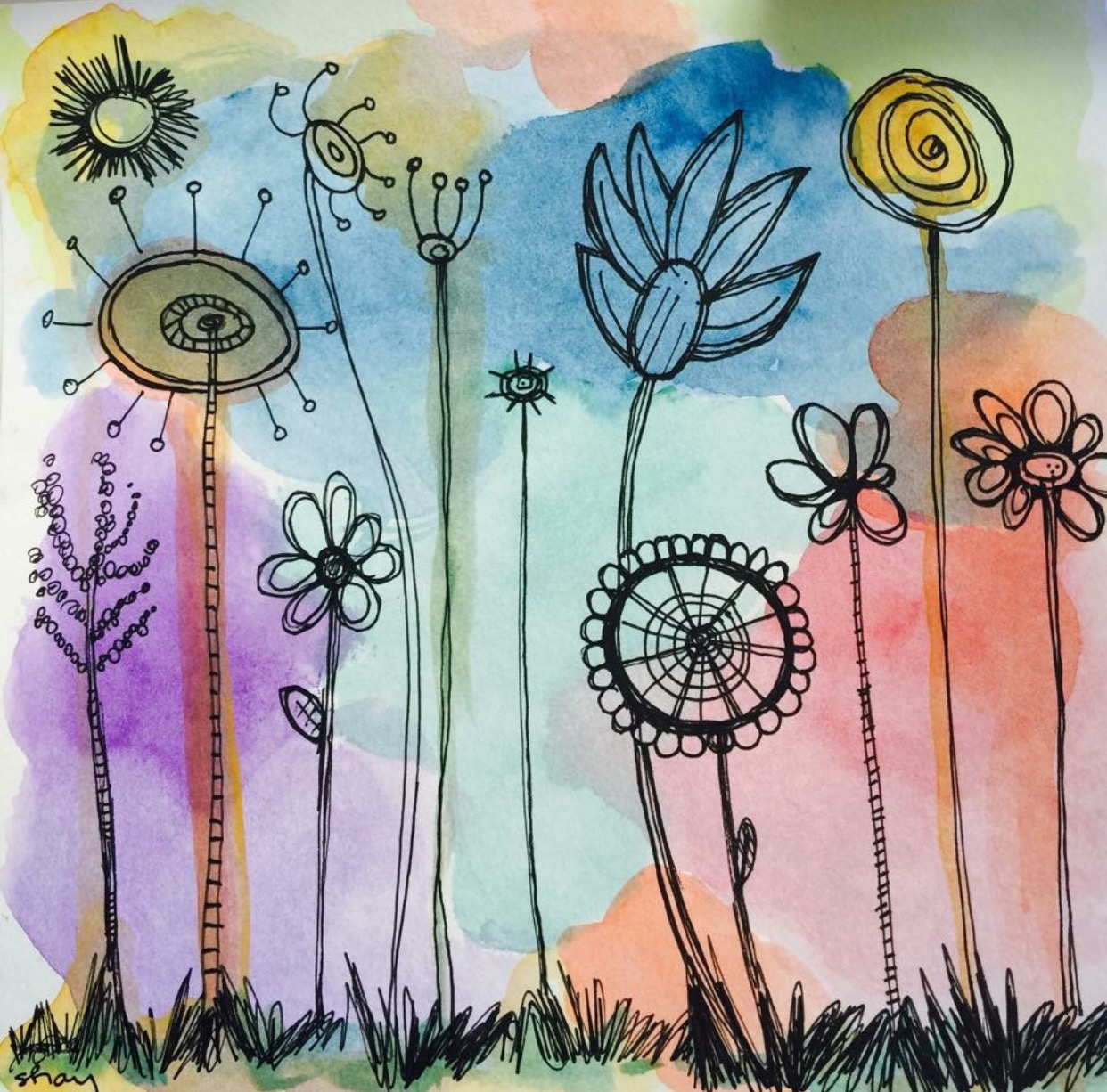 Whimsical Spring  Watercolor and pen and ink