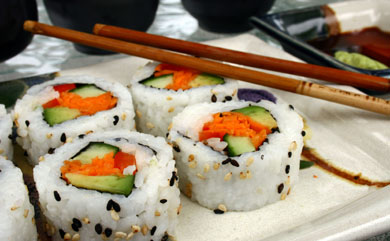 Enlightening Entrees! - Add your favorite thinly-chopped vegetables and wrap in seaweed to create your ideal sushi!