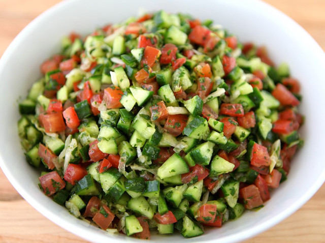 It can also be made without couscous for a more traditional Israeli Salad.