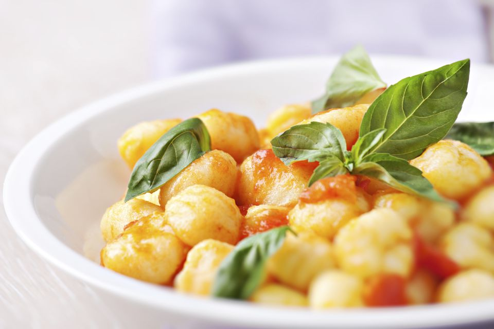 Southern-Italian Style Gnocchi with Basil, Tomato & Olive Oil variation.