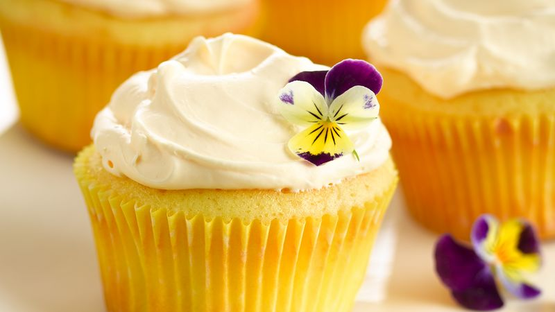 Delightful Desserts! - These are the best yellow-cake cupcakes CKA has EVER made. Garnish with edible flowers!