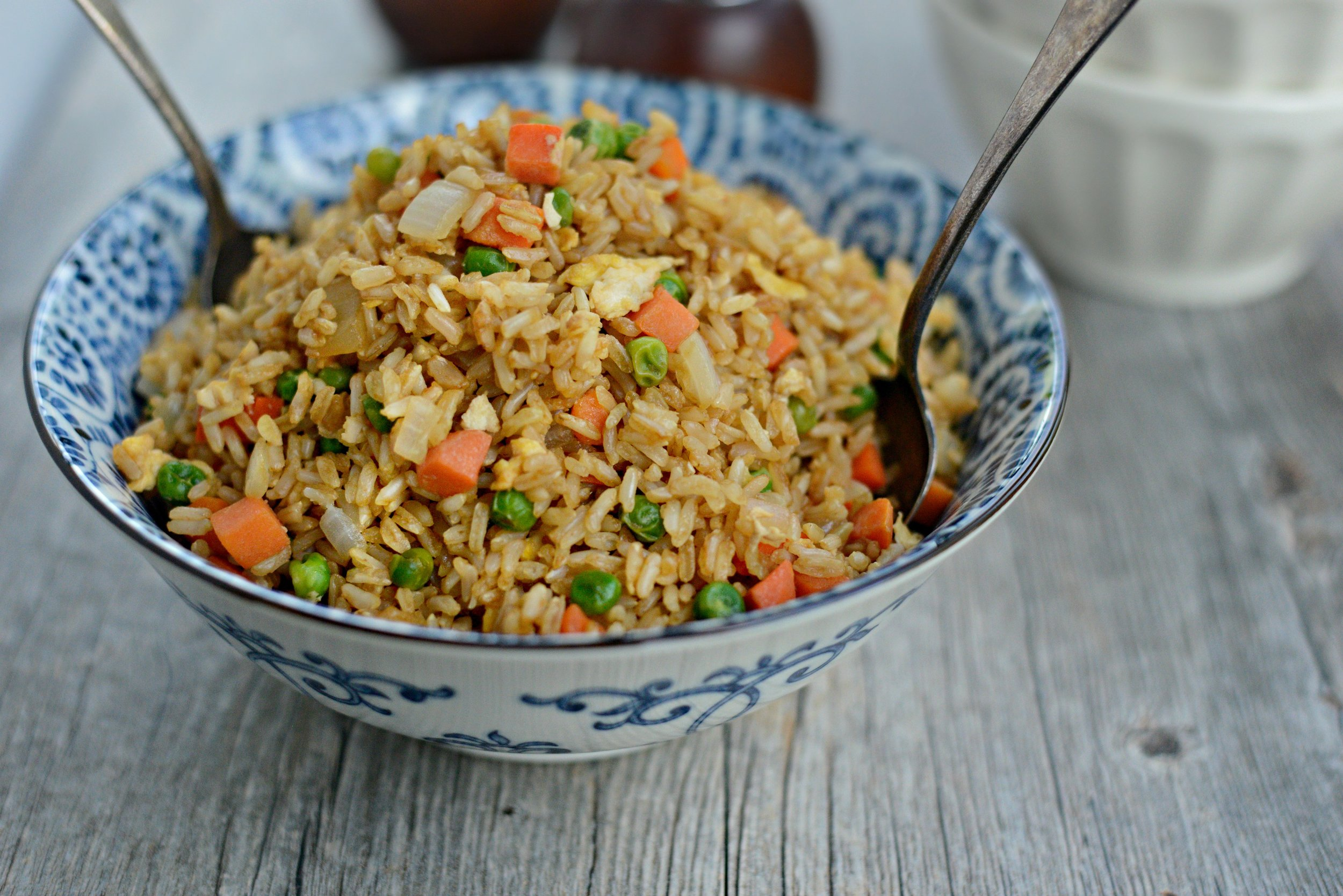 Enlightening Entrees! - Who says fried rice needs to be full of fat and unhealthy. Feel free to add even more of your favorite veggies to this recipe – Broccoli, long beans, red peppers all work great. The more the merrier! Enjoy!