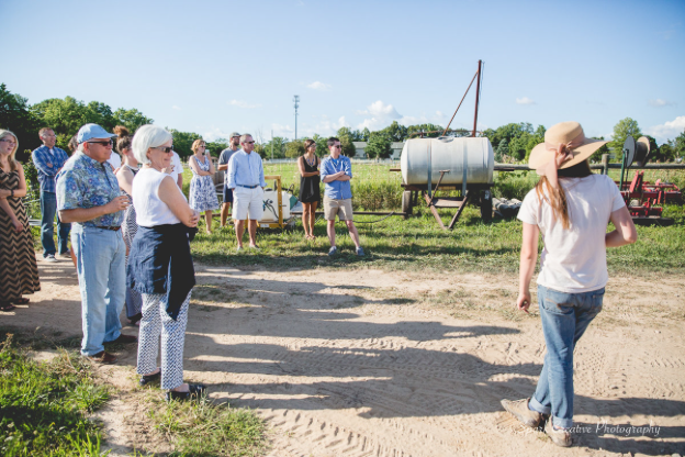 People visiting the certified organic farm on a beautiful sunny day (photo).