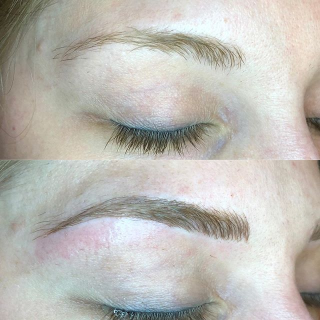 A Microblading transformation. I can't wait to touch these again! . . . #microblading #brows #eyebrows #esthetician  #healthy #permanentmakeup #beauty #organic #grandrapidsmi #westmichigan #beautyblogger #kpsessentialsaftercare @grnaturalhealth @kpsessentials @tinadaviesprofessional #tinadavies9classic @organicpermanentmakeup