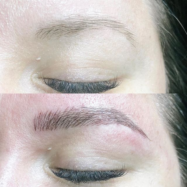 Microblading; a semi-permanent tattoo that mimics eyebrow hairs. This beauty drew her brows on daily and now she's got that fluff when she wakes! This one was so fun for me to open up that creative vault. . . . #microblading #brows #eyebrows #esthetician  #healthy #permanentmakeup #beauty #makeup #organicpermanentmakeup #grandrapidsmi #westmichigan #beautyblogger #experiencegr #kpsessentialsaftercare #tinadavies #featherbrow #fluff #instabrows
