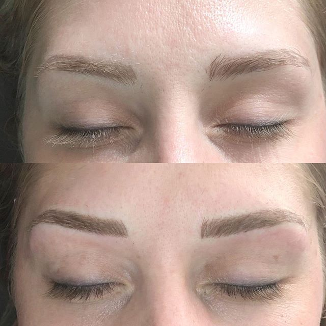 Headed north to hang with my cute fam this weekend. This beauty stopped in for a touch up yesterday. She had her initial done 6 weeks prior. She followed my aftercare instructions and they healed perfectly. The before is her healed brows. I get asked all the time if my organic pigments last and heal ok. I get better results with this organic pigment than I ever did with my high end non organic pigments. I'm extremely pleased. Pigment- @organicpermanentmakeup natural/light Blade- @tinadaviesprofessional classic 9 Aftercare- @kpsessentials healing balm . . . #microblading #brows #eyebrows #esthetician  #healthy #permanentmakeup #beauty #makeup #organicpermanentmakeup #grandrapidsmi #westmichigan #beautyblogger #experiencegr #kpsessentialsaftercare #tinadavies #featherbrow #fluff #instabrows