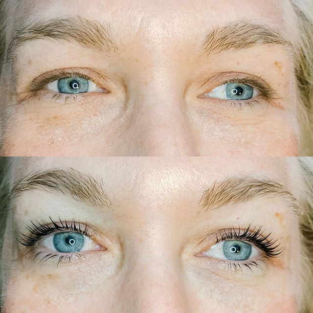 This is a lash lift and tint. Pop into my stories to ask me questions about them!  Lash Lifts are becoming quite the trend lately! They are super fun. It's basically a perm and color for your lashes!  I glue a little silicone rod to your lash line, glue your lashes to the rod and then apply a perm solution, a setting solution and then tint the lashes. The glue comes right off with water and then you're good to go! It's about an hour long service! . #lashliftandtint #elleebana #lashes #reallashes #liftyourlash #grandrapids #grandrapidsmi #esthetician #keratinlashtreatment #experiencegr #grandrapidsnaturalhealth