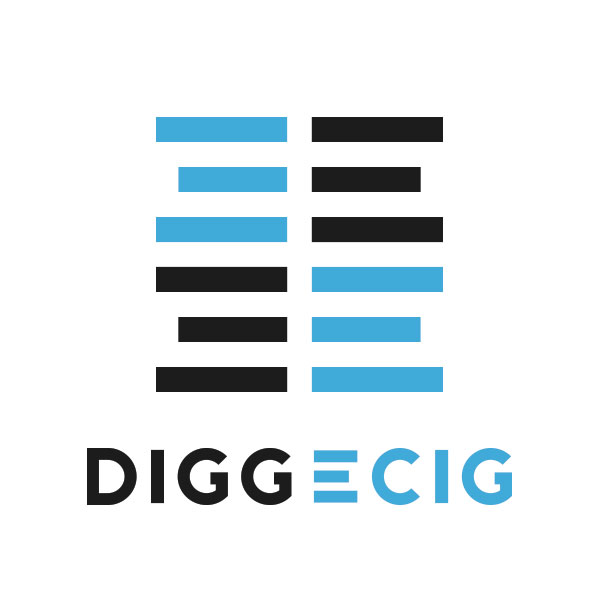 DiggECig - DiggECig is a distribution company in the fast moving vape Industry. This logo required a look that could function on a corporate level, while still having a little fun. These requirements were met by hand making a custom typeface for the company and choosing colored accents to increase appeal. We've been delighted to see it popping up on T-Shirts and Bumper Stickers!