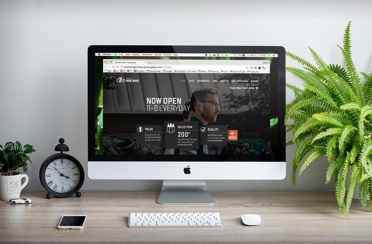 Ann Arbor Vape Shop website design displayed on an iMac
