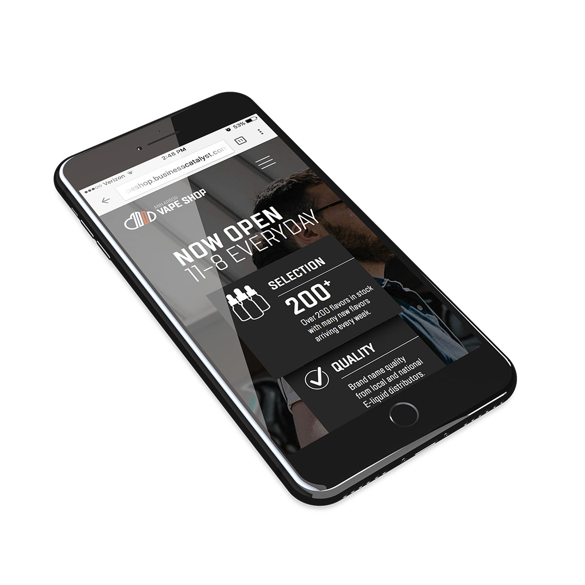 Ann Arbor Vape Shop mobile website displayed on an iPhone version 1
