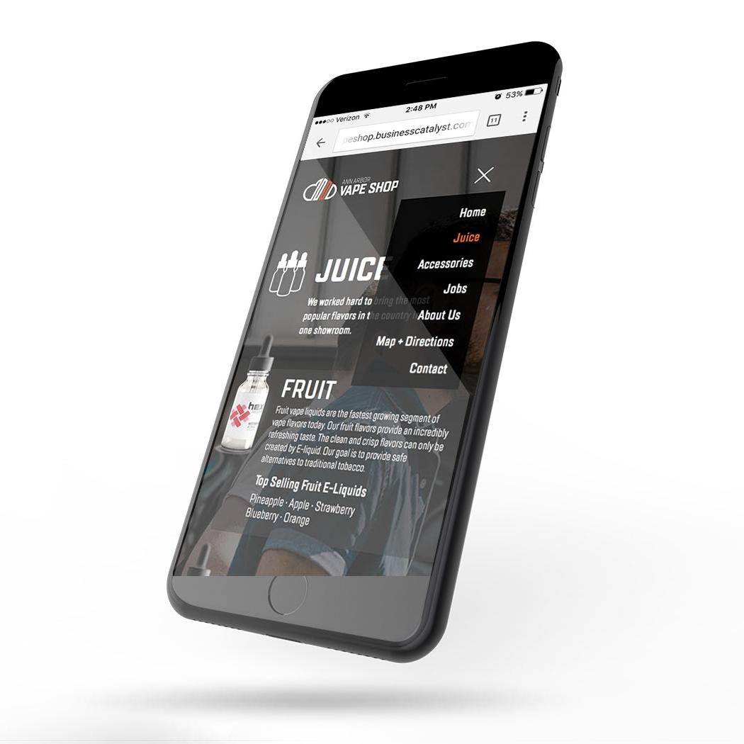 Ann Arbor Vape Shop mobile website displayed on an iPhone version 2