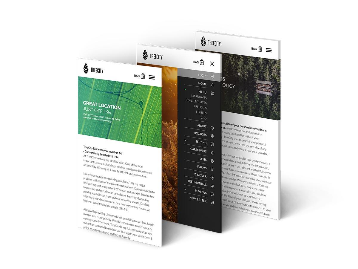 TreeCity mobile website app design