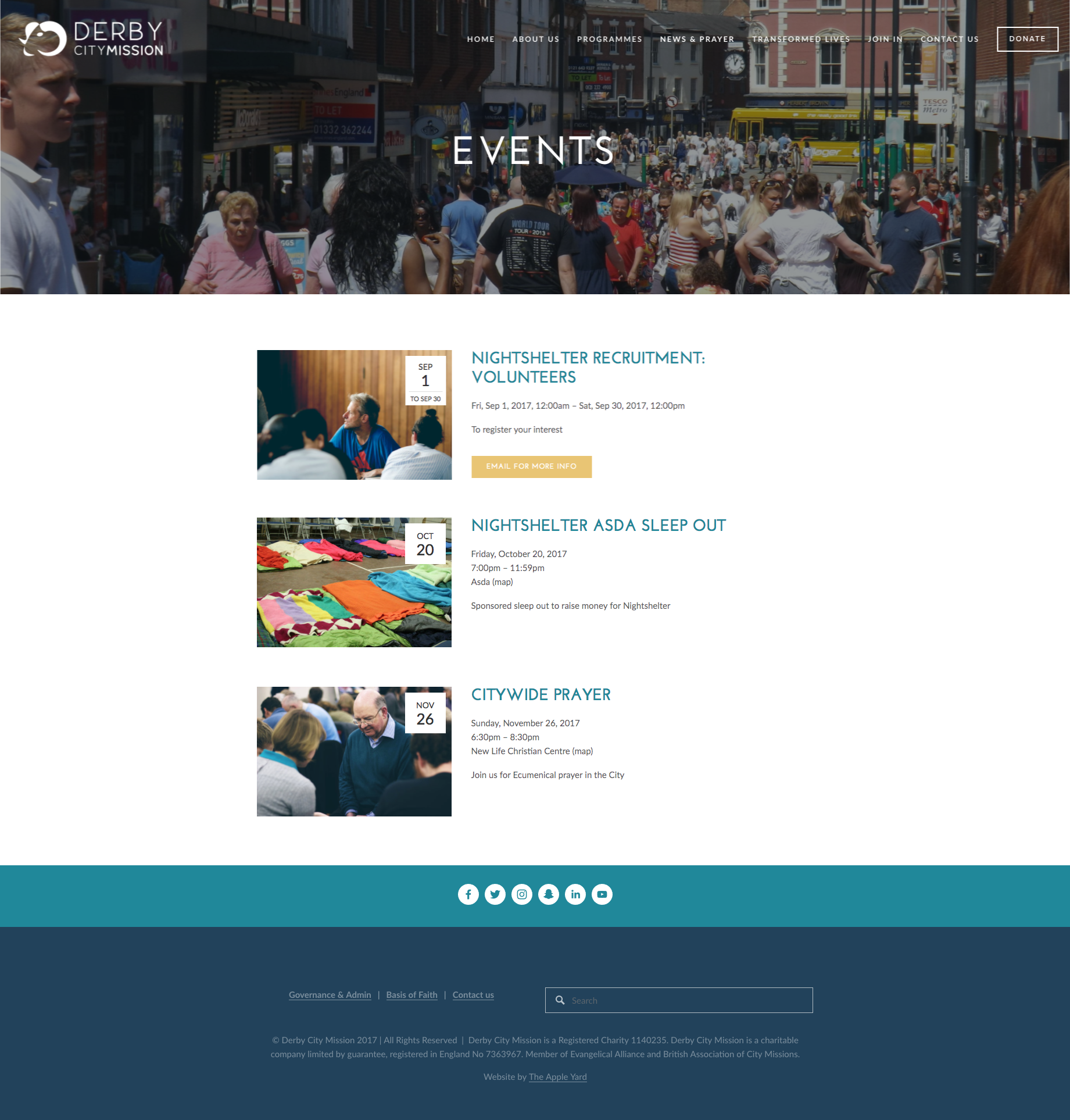 Derby City Mission Website project by The Apple Yard