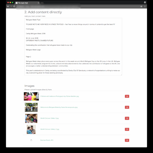Here's the back-end view of the content gathering form on  Dubsado