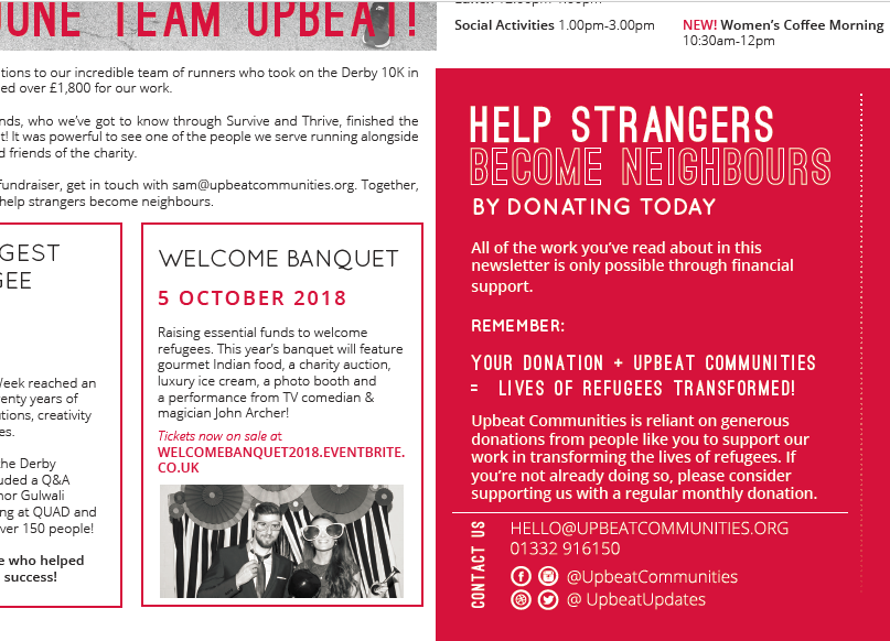 A snapshot of the Upbeat Updates newsletter for Upbeat Communities