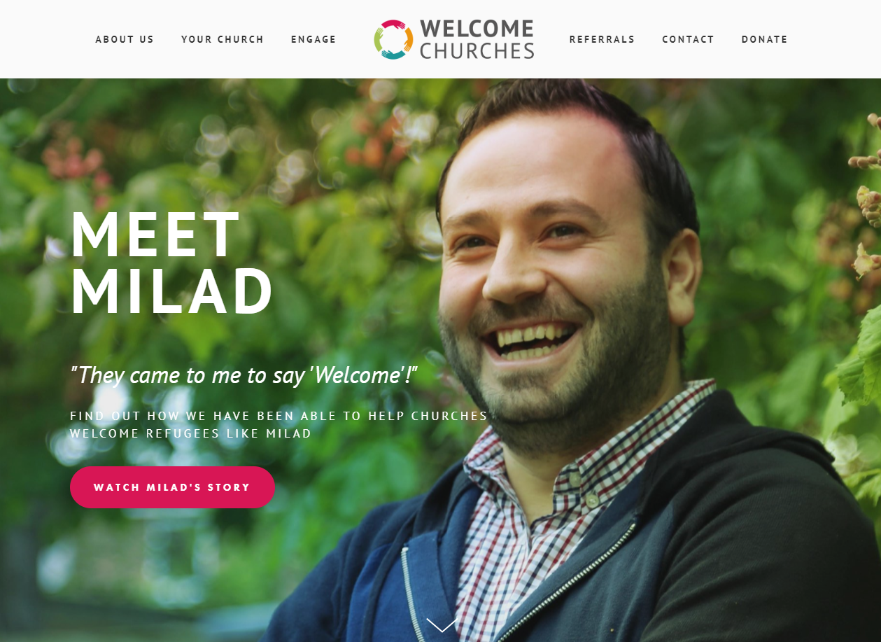 A snapshot of the homepage of the Welcome Churches website