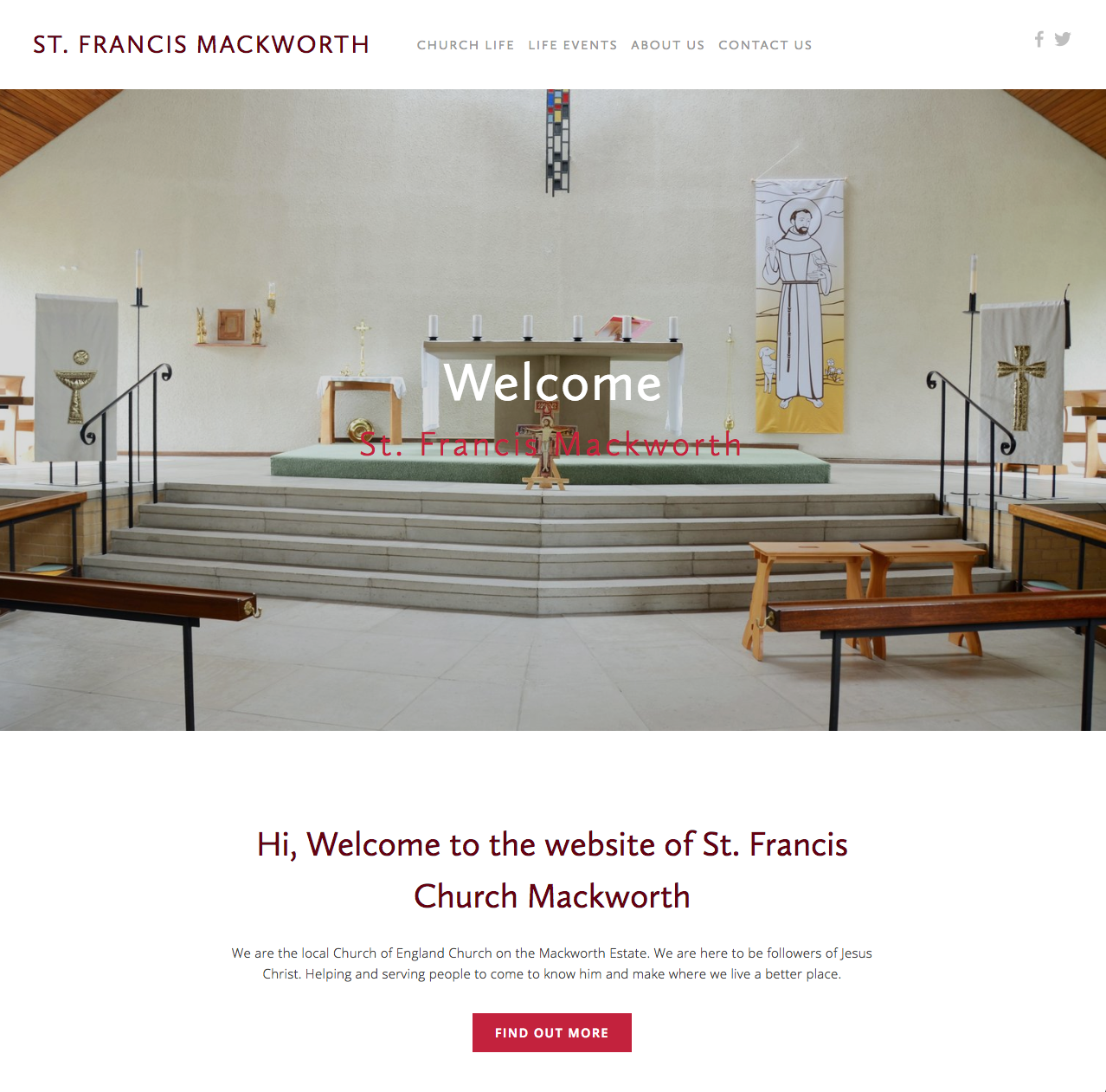 A snapshot of the homepage of the St Francis Mackworth website