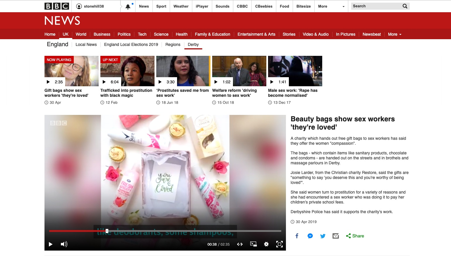 Restore+Derby+BBC+News+Stop+Motion+Beauty+Bag