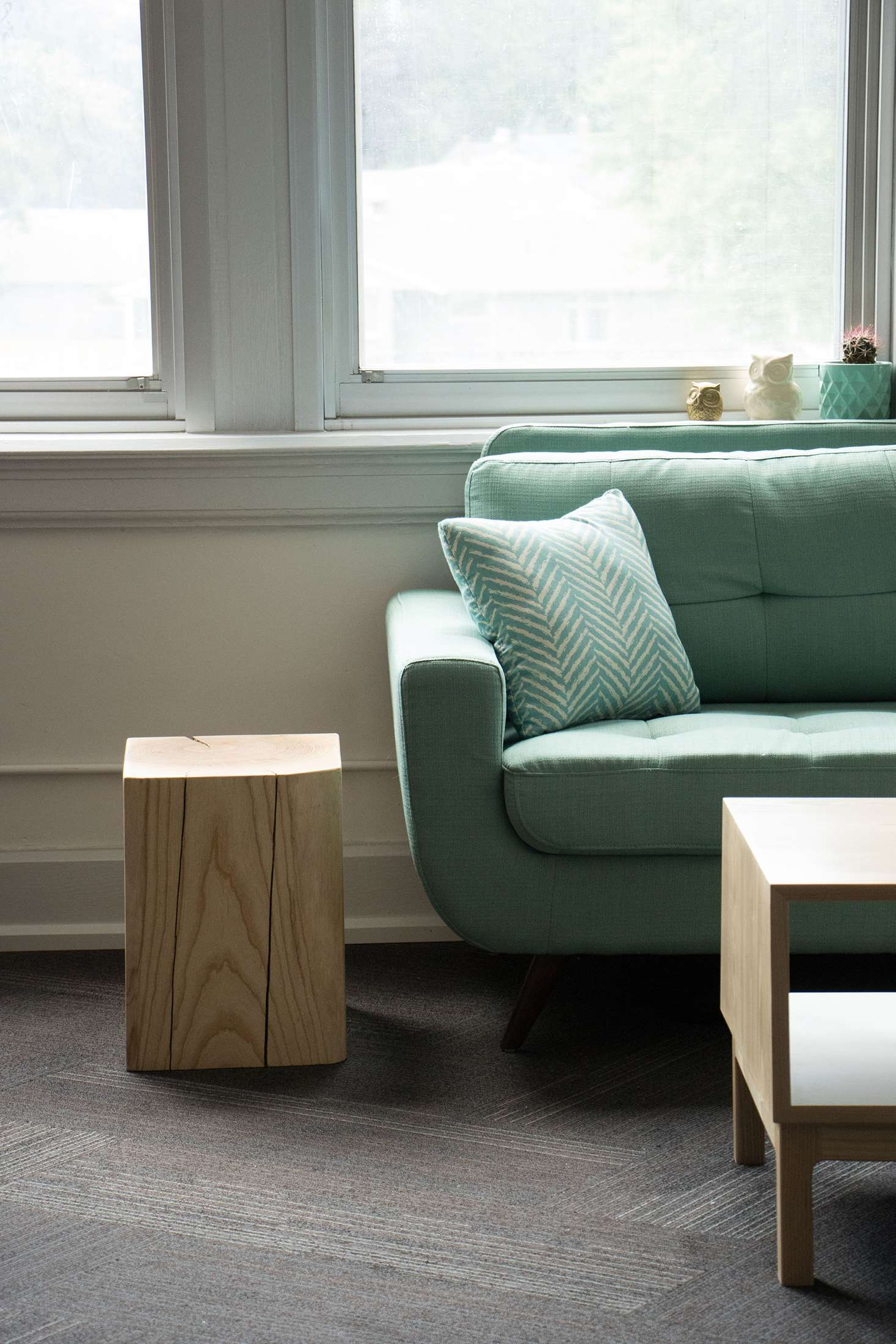 White ash timber cube side table.